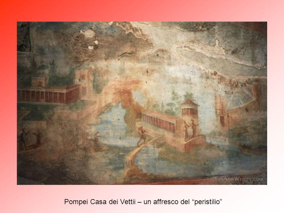 """Pompei Casa dei Vettii – """"peristilio"""" (4) in primo piano il """"viridarium"""" e sul fondo la parete con affreschi."""