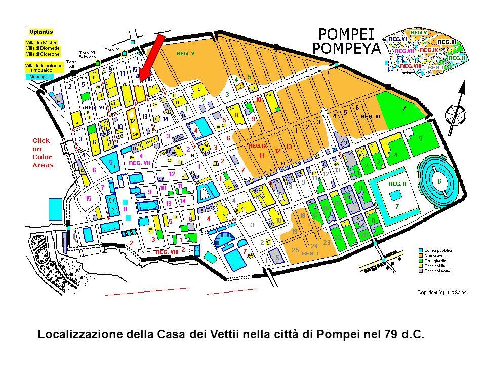 Localizzazione della Casa dei Vettii nella città di Pompei nel 79 d.C.
