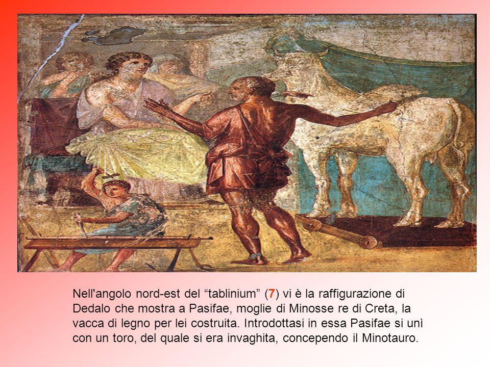 """Sulla parete di fondo del """"tablinium"""" (7) è rappresentato il mito di Issione, condannato da Zeus ad essere legato con serpi ad una ruota costruita da"""