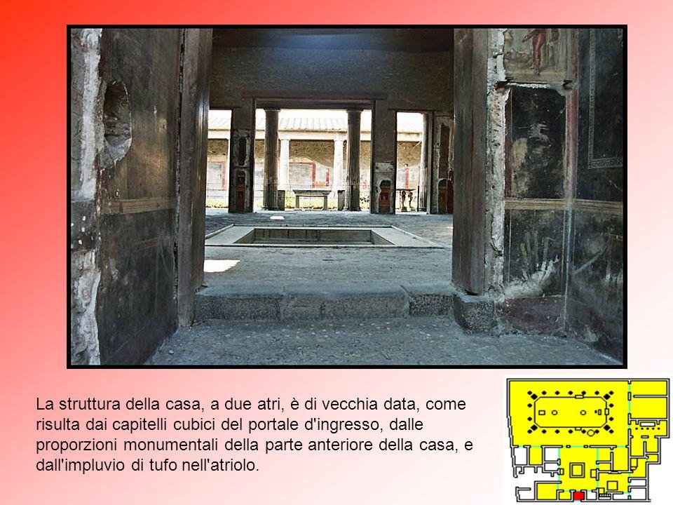 A Atrium (atrio) 2 Alae (ripostiglio) 3 Oecus (salotto) 4 Peristilium (portico) 5 Viridarium (giardino) 6 Triclinium (salone) 7 Tablinium (archivio) C