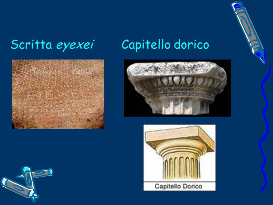 Scritta eyexei Capitello dorico
