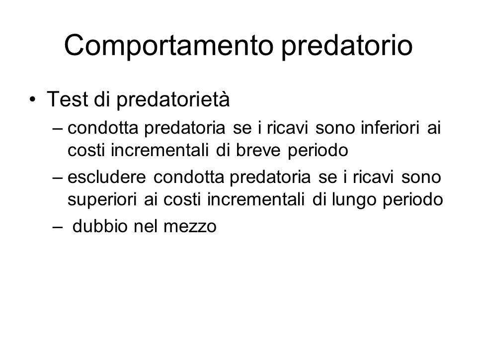 Comportamento predatorio Test di predatorietà –condotta predatoria se i ricavi sono inferiori ai costi incrementali di breve periodo –escludere condot