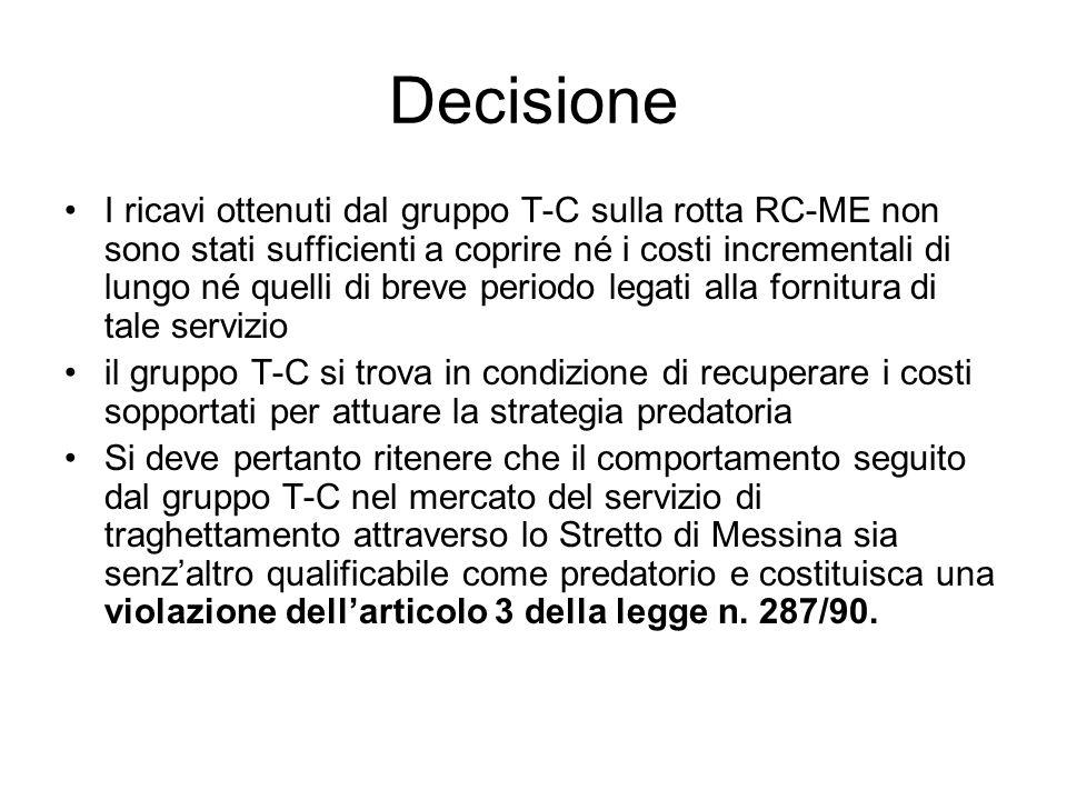 Decisione I ricavi ottenuti dal gruppo T-C sulla rotta RC-ME non sono stati sufficienti a coprire né i costi incrementali di lungo né quelli di breve