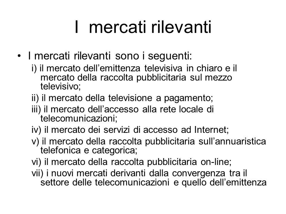 I mercati rilevanti I mercati rilevanti sono i seguenti: i) il mercato dell'emittenza televisiva in chiaro e il mercato della raccolta pubblicitaria s