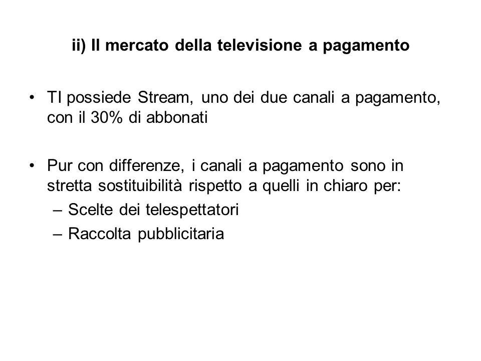 ii) Il mercato della televisione a pagamento TI possiede Stream, uno dei due canali a pagamento, con il 30% di abbonati Pur con differenze, i canali a