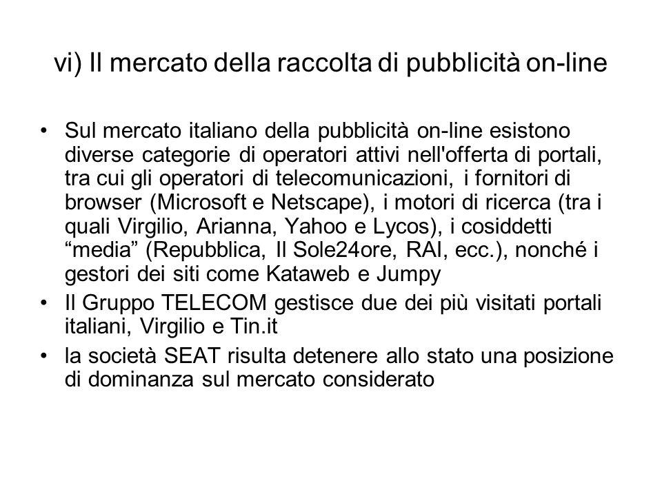 vi) Il mercato della raccolta di pubblicità on-line Sul mercato italiano della pubblicità on-line esistono diverse categorie di operatori attivi nell'