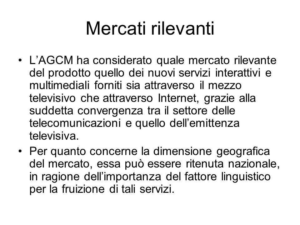 Mercati rilevanti L'AGCM ha considerato quale mercato rilevante del prodotto quello dei nuovi servizi interattivi e multimediali forniti sia attravers