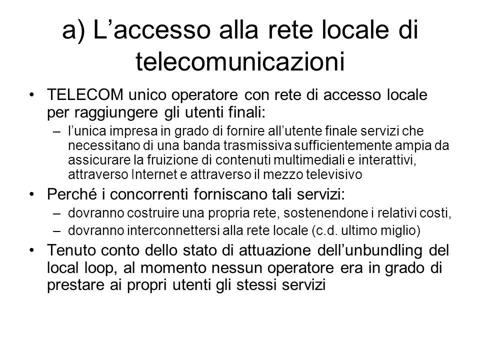 a) L'accesso alla rete locale di telecomunicazioni TELECOM unico operatore con rete di accesso locale per raggiungere gli utenti finali: –l'unica impr