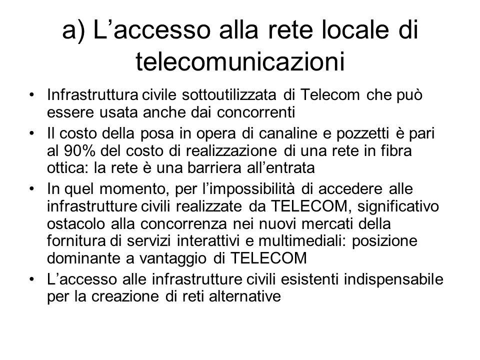 a) L'accesso alla rete locale di telecomunicazioni Infrastruttura civile sottoutilizzata di Telecom che può essere usata anche dai concorrenti Il cost