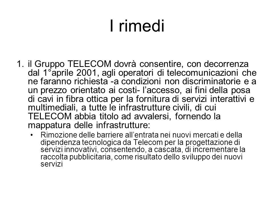 I rimedi 1.il Gruppo TELECOM dovrà consentire, con decorrenza dal 1°aprile 2001, agli operatori di telecomunicazioni che ne faranno richiesta -a condi