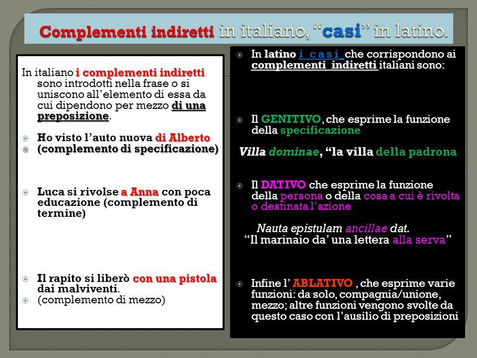 i complementi indiretti di una preposizione In italiano i complementi indiretti sono introdotti nella frase o si uniscono all'elemento di essa da cui