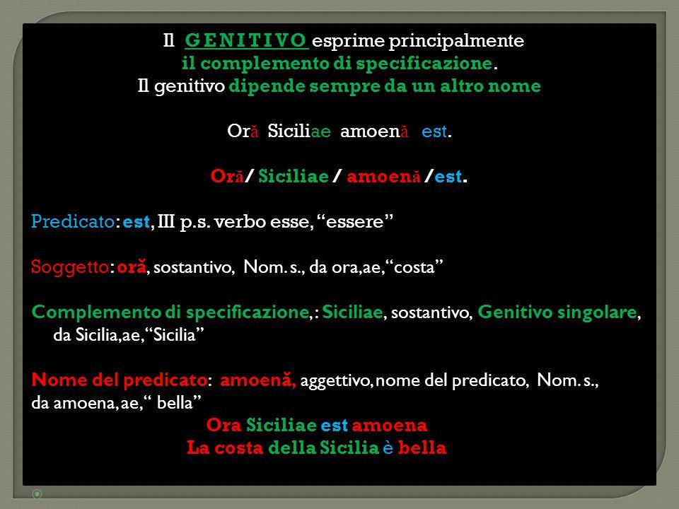 GENITIVO Il GENITIVO esprime principalmente il complemento di specificazione il complemento di specificazione. dipende sempre da un altro nome Il geni