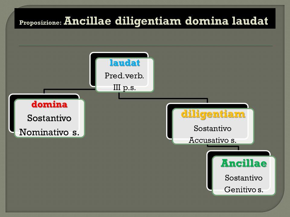laudat Pred.verb. III p.s. domina Sostantivo Nominativo s. diligentiam Sostantivo Accusativo s. Ancillae Sostantivo Genitivo s.