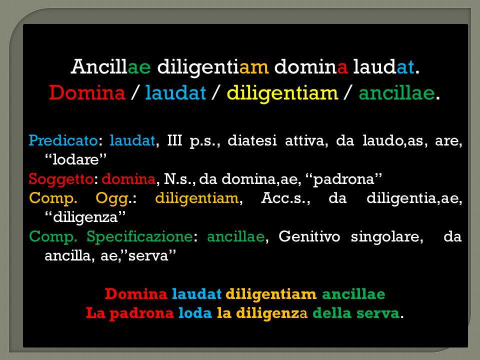 "Ancillae diligentiam domina laudat. Domina / laudat / diligentiam / ancillae. Predicato: laudat, III p.s., diatesi attiva, da laudo,as, are, ""lodare"""
