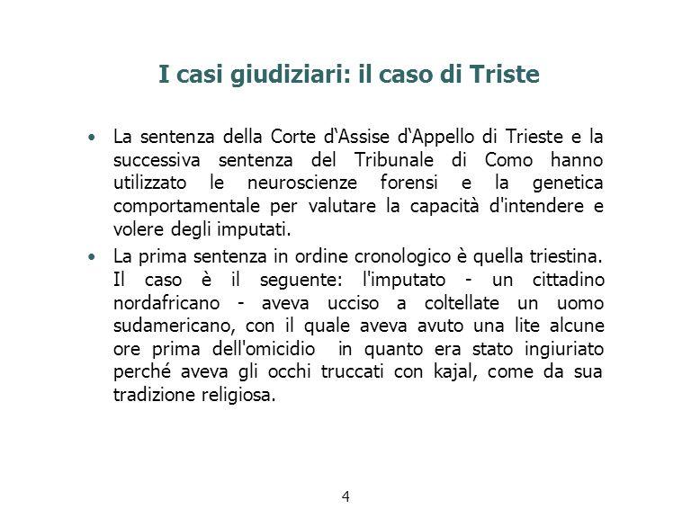 I casi giudiziari: il caso di Triste La sentenza della Corte d'Assise d'Appello di Trieste e la successiva sentenza del Tribunale di Como hanno utiliz