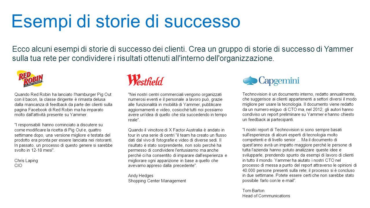 Esempi di storie di successo Ecco alcuni esempi di storie di successo dei clienti.