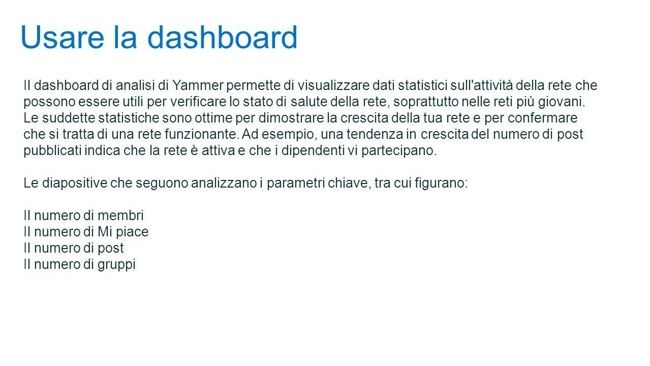 Usare la dashboard Il dashboard di analisi di Yammer permette di visualizzare dati statistici sull attività della rete che possono essere utili per verificare lo stato di salute della rete, soprattutto nelle reti più giovani.