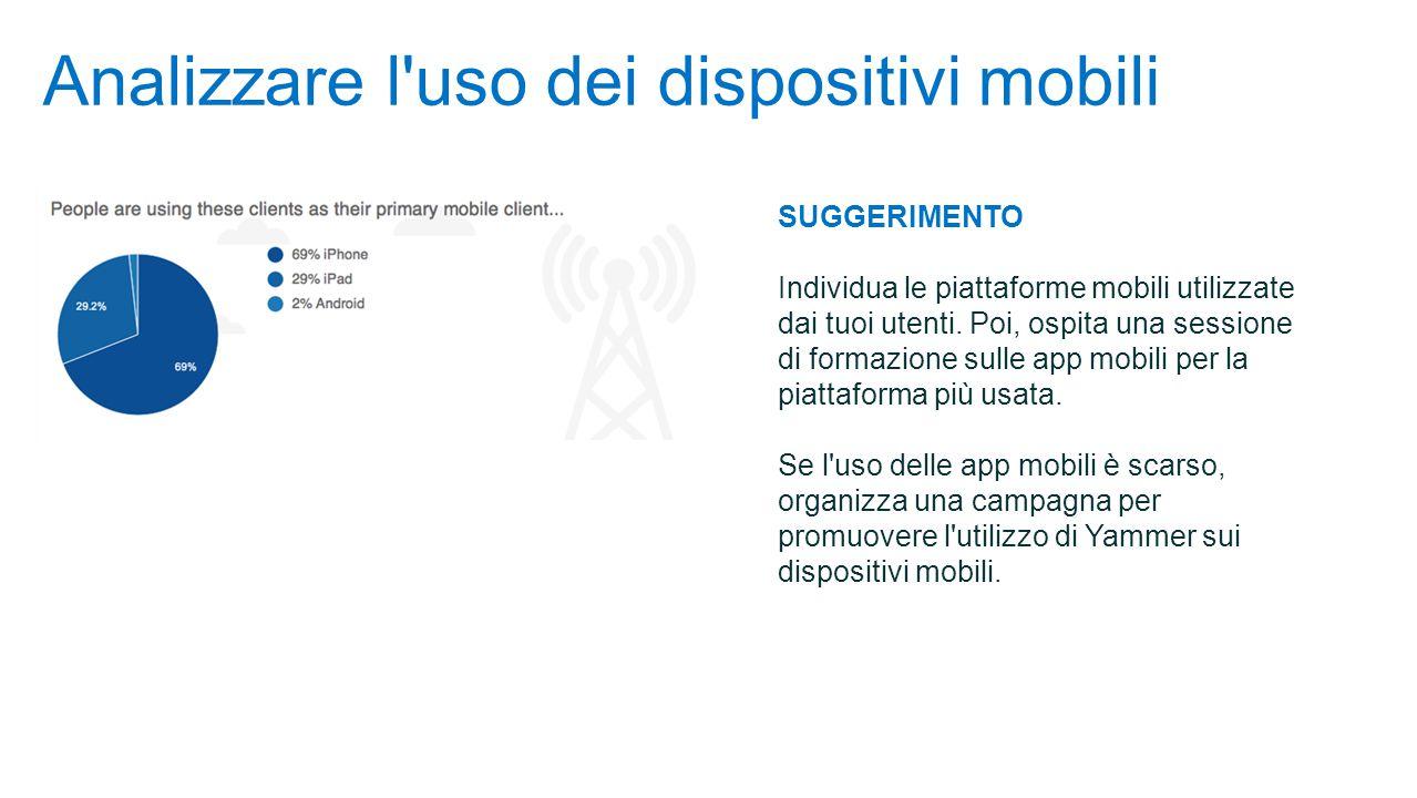 Analizzare l uso dei dispositivi mobili SUGGERIMENTO Individua le piattaforme mobili utilizzate dai tuoi utenti.
