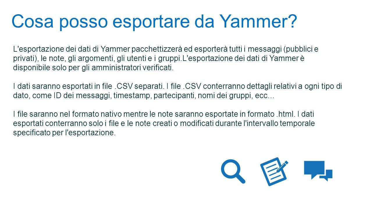 Cosa posso esportare da Yammer.