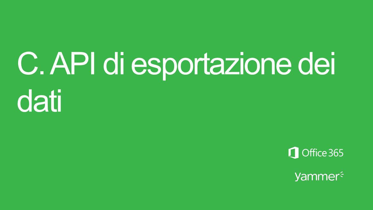 C. API di esportazione dei dati