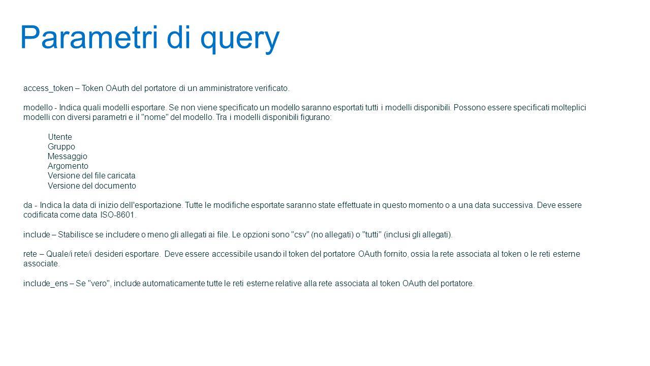 Parametri di query access_token – Token OAuth del portatore di un amministratore verificato.