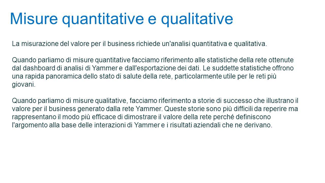 Misure quantitative e qualitative La misurazione del valore per il business richiede un analisi quantitativa e qualitativa.