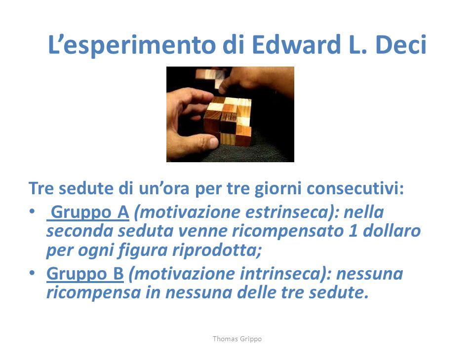 L'esperimento di Edward L. Deci Tre sedute di un'ora per tre giorni consecutivi: Gruppo A (motivazione estrinseca): nella seconda seduta venne ricompe