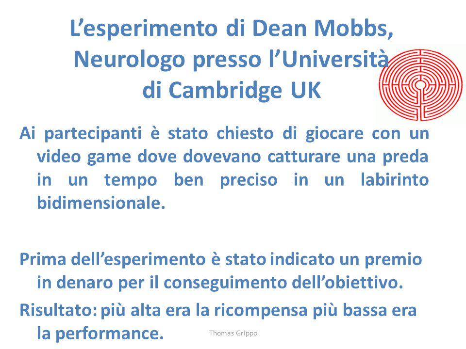 L'esperimento di Dean Mobbs, Neurologo presso l'Università di Cambridge UK Ai partecipanti è stato chiesto di giocare con un video game dove dovevano