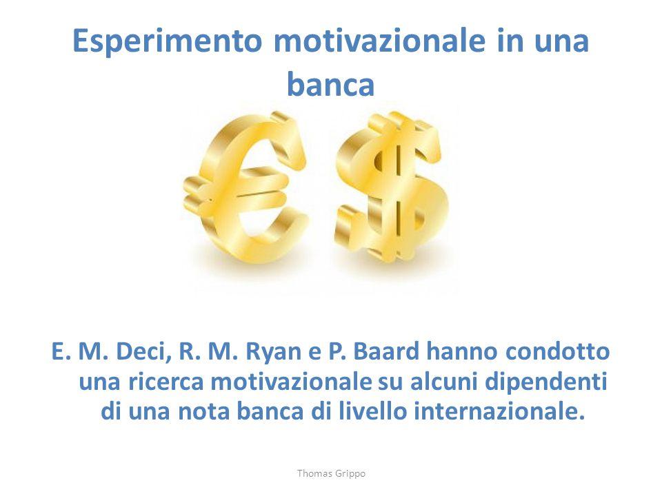 Esperimento motivazionale in una banca E. M. Deci, R. M. Ryan e P. Baard hanno condotto una ricerca motivazionale su alcuni dipendenti di una nota ban