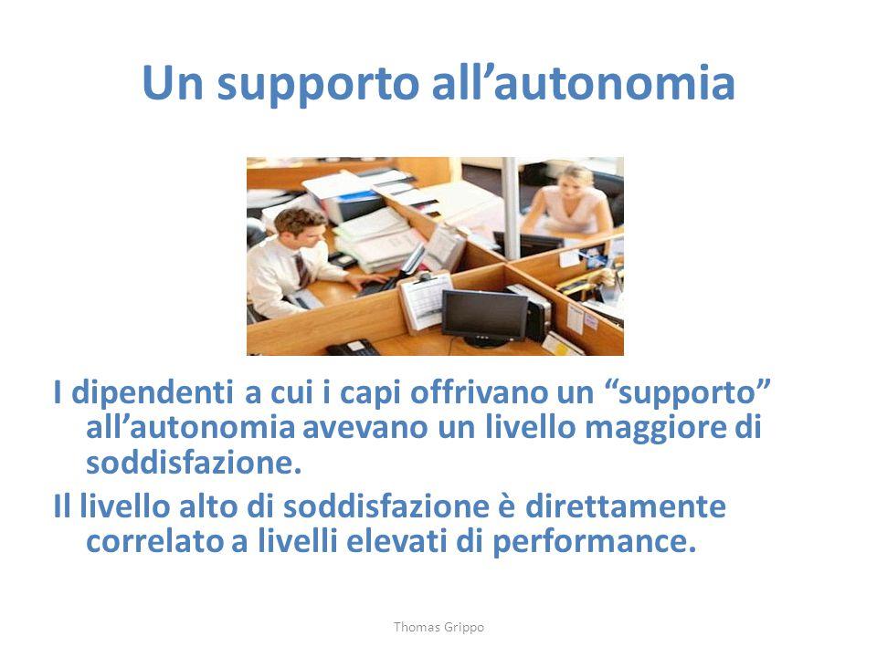 """Un supporto all'autonomia I dipendenti a cui i capi offrivano un """"supporto"""" all'autonomia avevano un livello maggiore di soddisfazione. Il livello alt"""