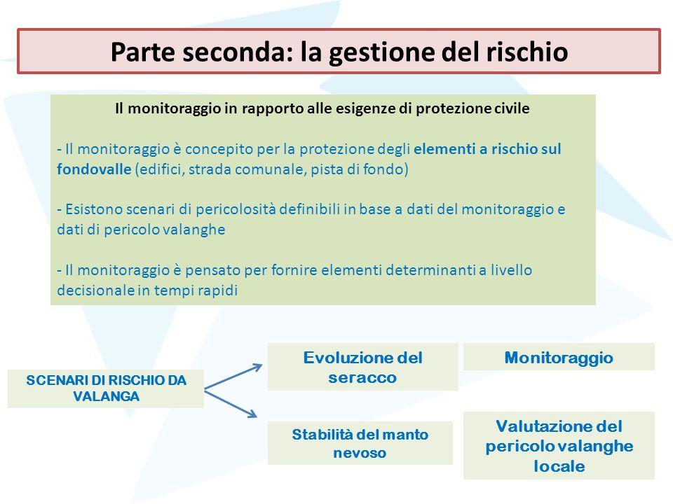 Il monitoraggio in rapporto alle esigenze di protezione civile - Il monitoraggio è concepito per la protezione degli elementi a rischio sul fondovalle
