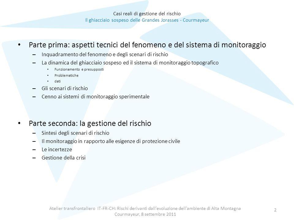 Atelier transfrontaliero IT-FR-CH: Rischi derivanti dall'evoluzione dell'ambiente di Alta Montagna Courmayeur, 8 settembre 2011 2 Parte prima: aspetti