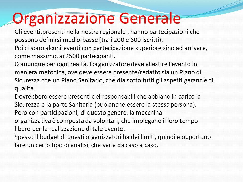 Organizzazione Generale Gli eventi,presenti nella nostra regionale, hanno partecipazioni che possono definirsi medio-basse (tra i 200 e 600 iscritti).