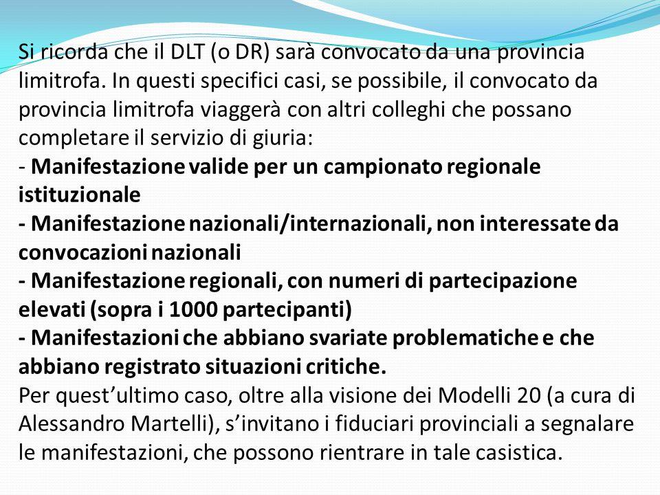 Si ricorda che il DLT (o DR) sarà convocato da una provincia limitrofa. In questi specifici casi, se possibile, il convocato da provincia limitrofa vi