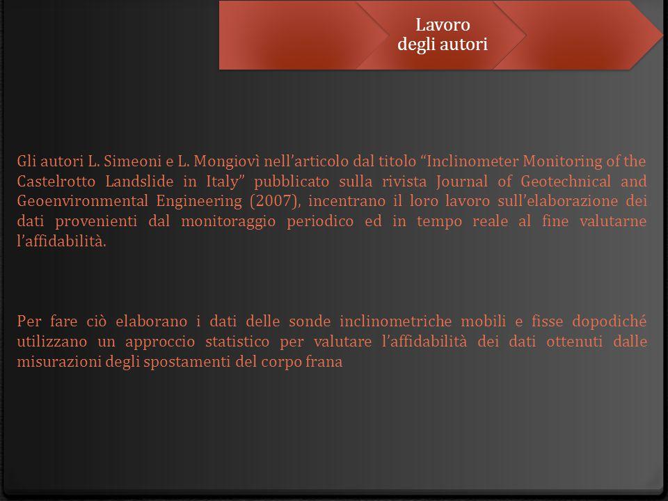"""Lavoro degli autori Gli autori L. Simeoni e L. Mongiovì nell'articolo dal titolo """"Inclinometer Monitoring of the Castelrotto Landslide in Italy"""" pubbl"""