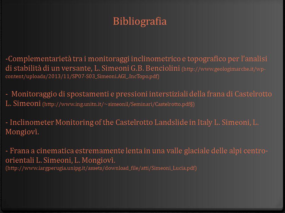 Bibliografia -Complementarietà tra i monitoraggi inclinometrico e topografico per l'analisi di stabilità di un versante, L. Simeoni G.B. Benciolini (h