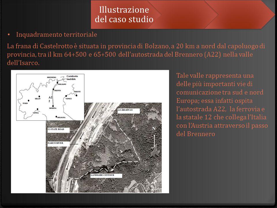 Illustrazione del caso studio La frana di Castelrotto è situata in provincia di Bolzano, a 20 km a nord dal capoluogo di provincia, tra il km 64+500 e