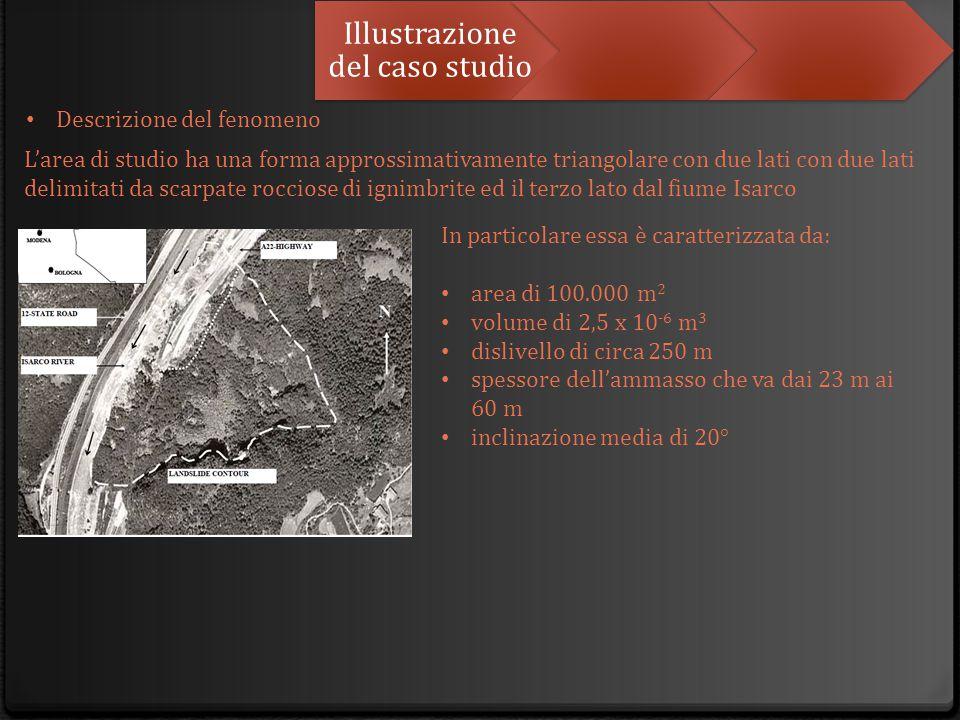 Illustrazione del caso studio L'area di studio ha una forma approssimativamente triangolare con due lati con due lati delimitati da scarpate rocciose