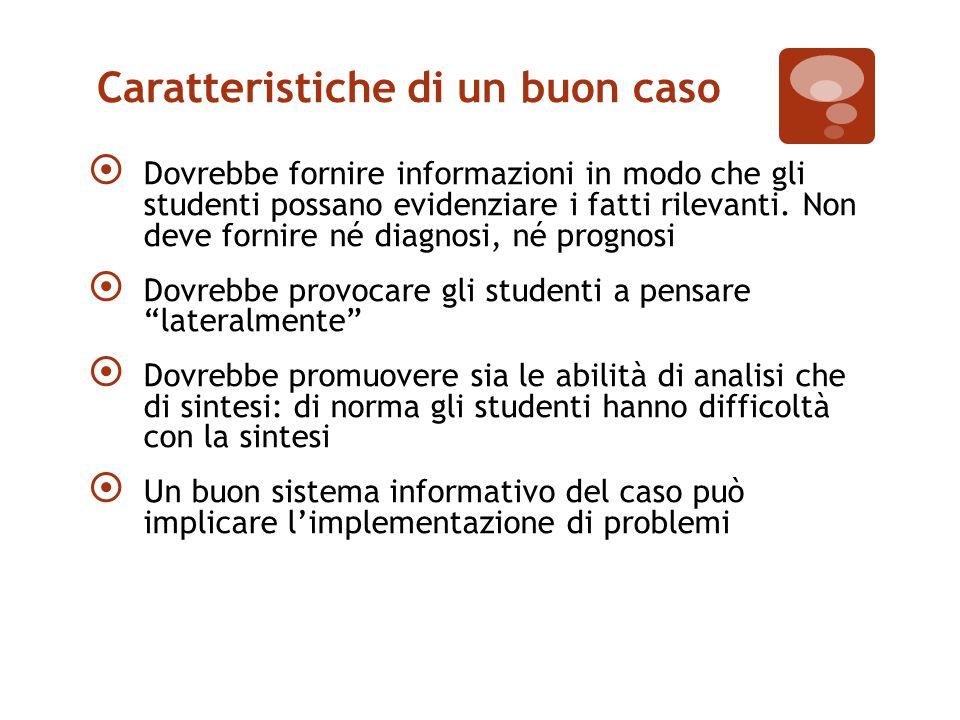 Caratteristiche di un buon caso  Dovrebbe fornire informazioni in modo che gli studenti possano evidenziare i fatti rilevanti.