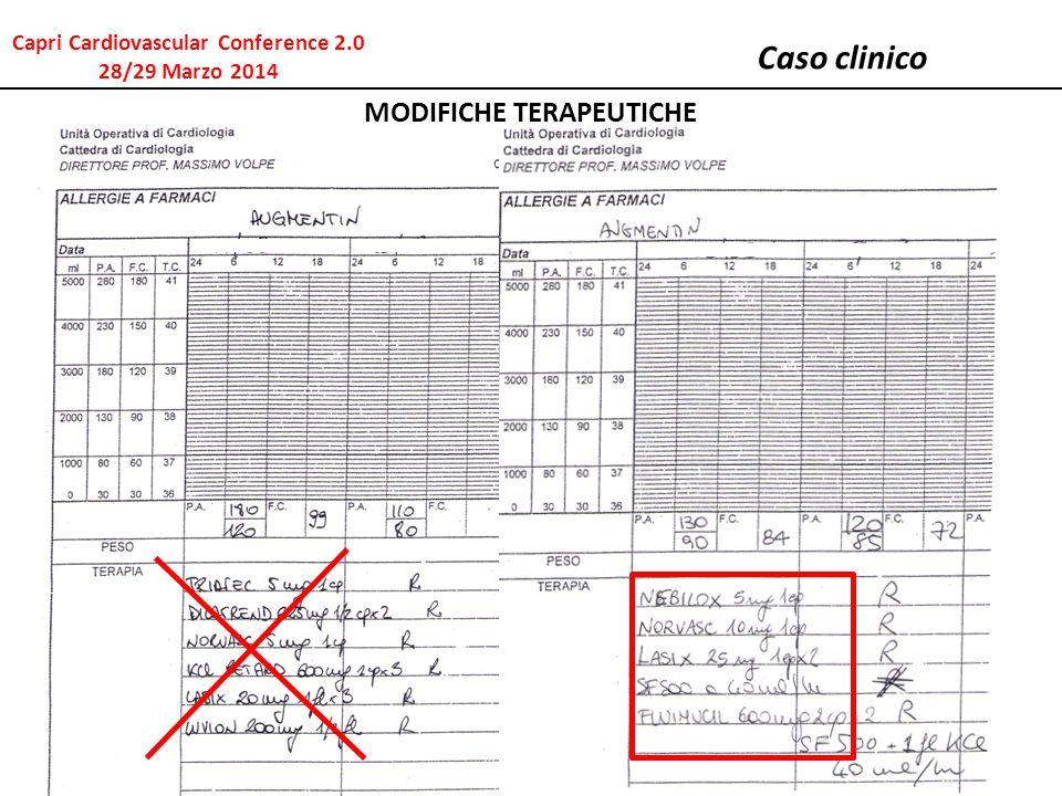 Caso clinico MODIFICHE TERAPEUTICHE Capri Cardiovascular Conference 2.0 28/29 Marzo 2014