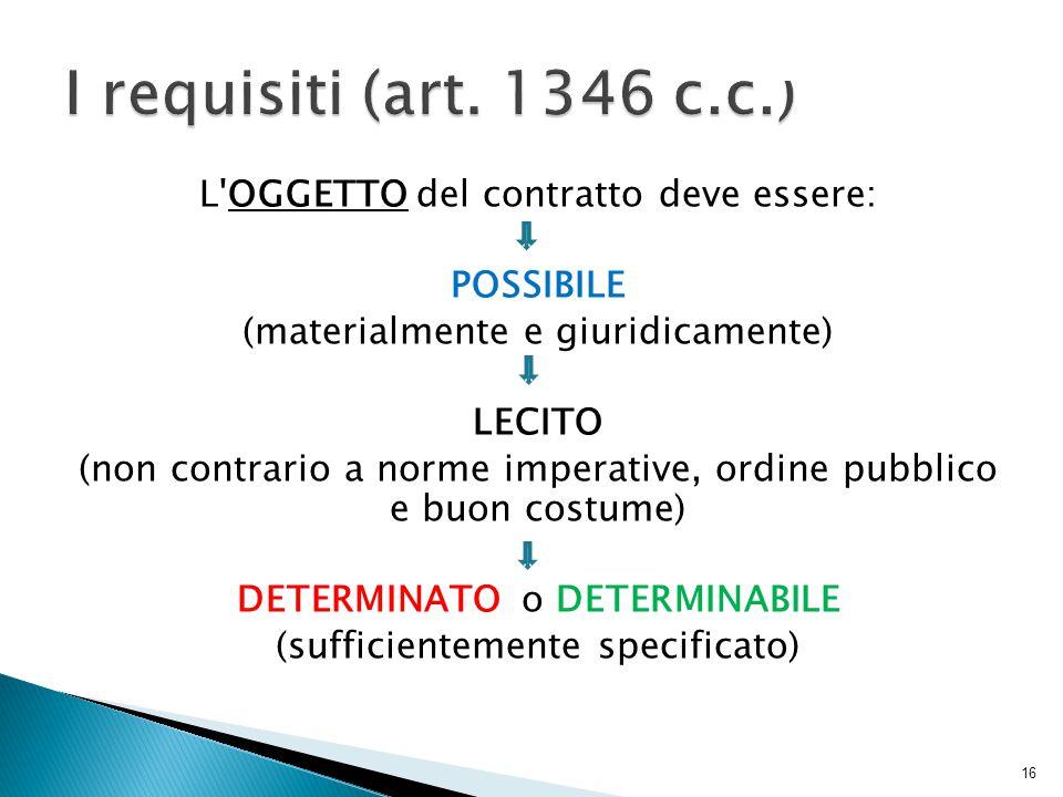 L OGGETTO del contratto deve essere: POSSIBILE (materialmente e giuridicamente) LECITO (non contrario a norme imperative, ordine pubblico e buon costume) DETERMINATO o DETERMINABILE (sufficientemente specificato) 16