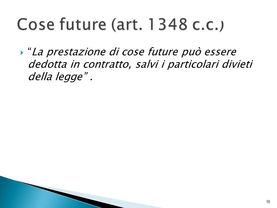  La prestazione di cose future può essere dedotta in contratto, salvi i particolari divieti della legge .