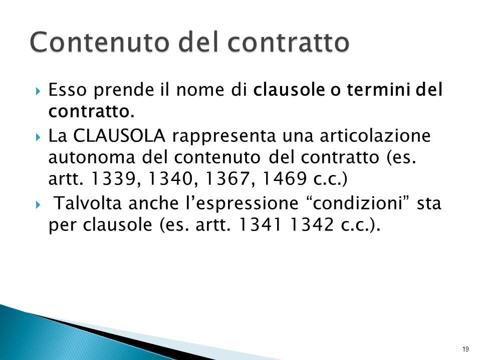  Esso prende il nome di clausole o termini del contratto.