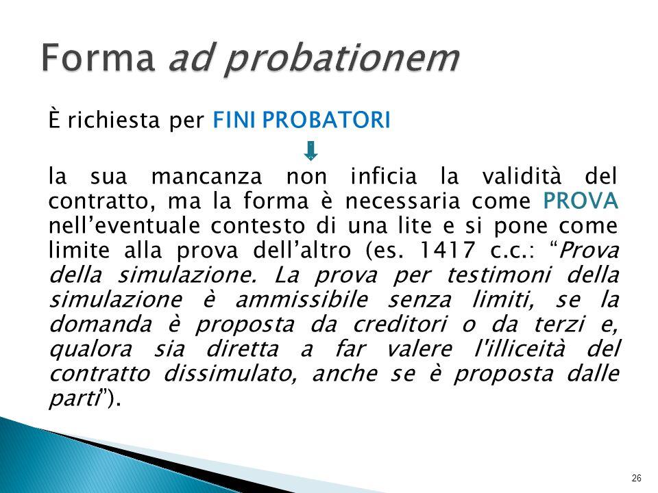 È richiesta per FINI PROBATORI la sua mancanza non inficia la validità del contratto, ma la forma è necessaria come PROVA nell'eventuale contesto di una lite e si pone come limite alla prova dell'altro (es.
