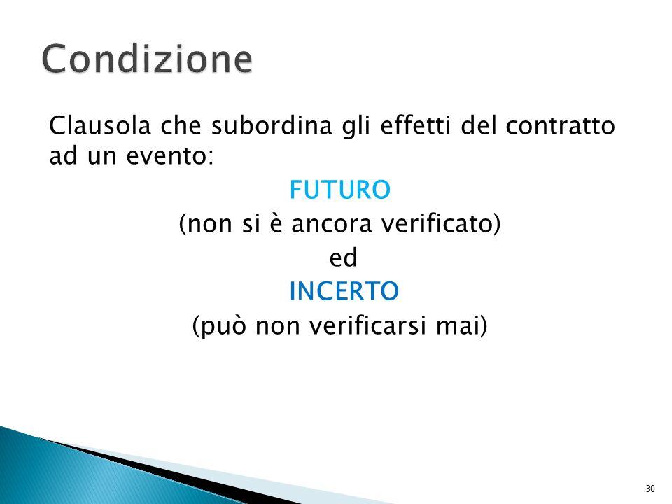 Clausola che subordina gli effetti del contratto ad un evento: FUTURO (non si è ancora verificato) ed INCERTO (può non verificarsi mai) 30