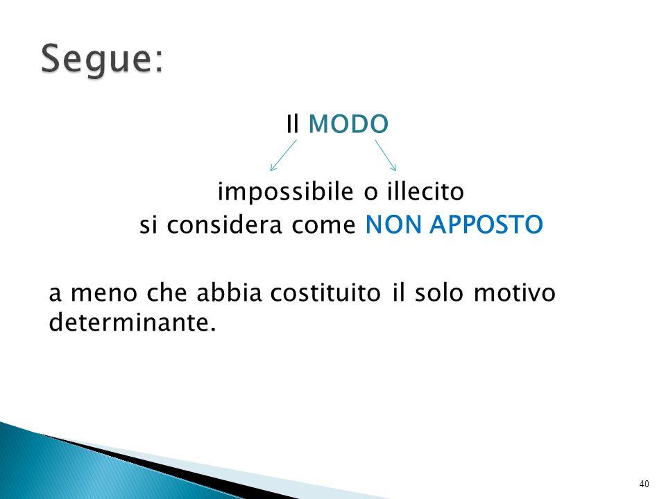 Il MODO impossibile o illecito si considera come NON APPOSTO a meno che abbia costituito il solo motivo determinante.
