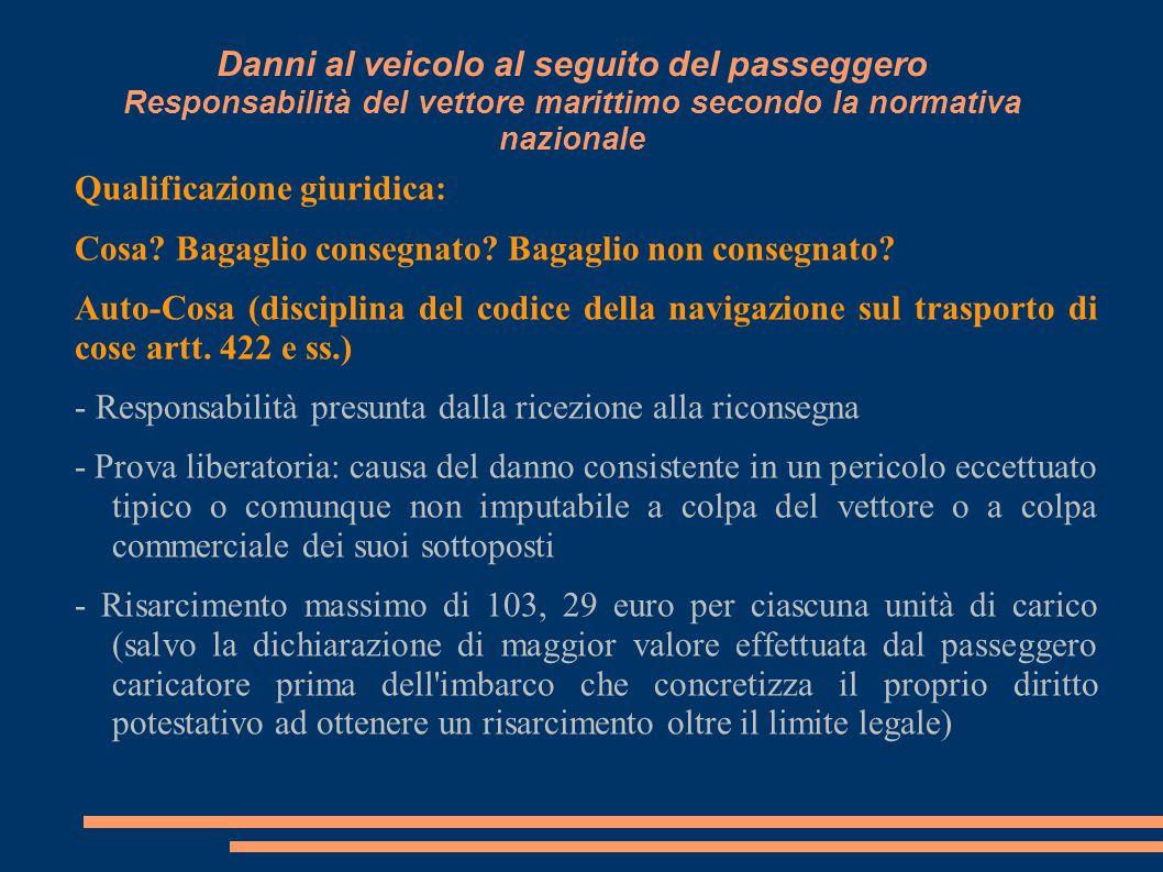 Danni al veicolo al seguito del passeggero Responsabilità del vettore marittimo secondo la normativa nazionale Qualificazione giuridica: Cosa? Bagagli