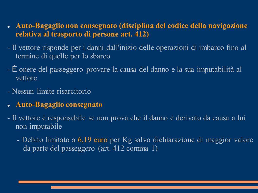 Auto-Bagaglio non consegnato (disciplina del codice della navigazione relativa al trasporto di persone art. 412) - Il vettore risponde per i danni dal