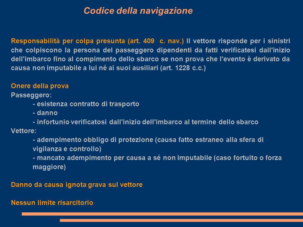 Bagaglio consegnato Codice della navigazione: - il vettore è responsabile se non prova che il danno è derivato da causa a lui non imputabile - debito limitato a 6,19 euro per Kg salvo dichiarazione di maggior valore da parte del passeggero (art.