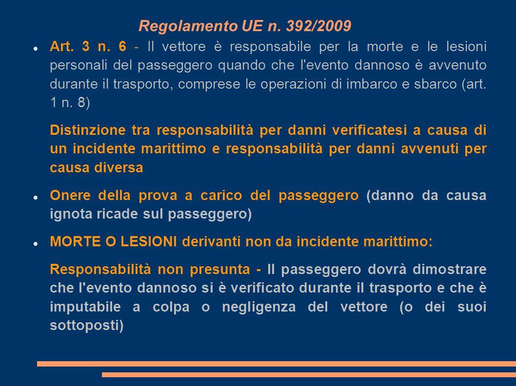 Regolamento UE n. 392/2009 Art. 3 n. 6 - Il vettore è responsabile per la morte e le lesioni personali del passeggero quando che l'evento dannoso è av